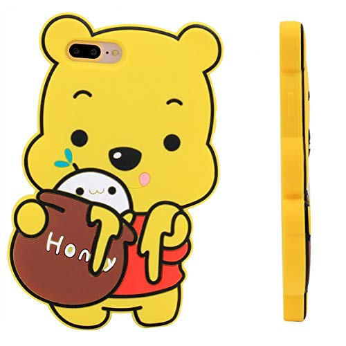 """Honey Winnie Case for iPhone 6 Plus/6S Plus 5.5"""",3D Cartoon Animal Pooh Design Cute Soft Silicone Rubber Cover,Kawaii Animated Stylish Fashion Cool Skin for Kids Child Teens Girls Women (iPhone 6Plus)"""