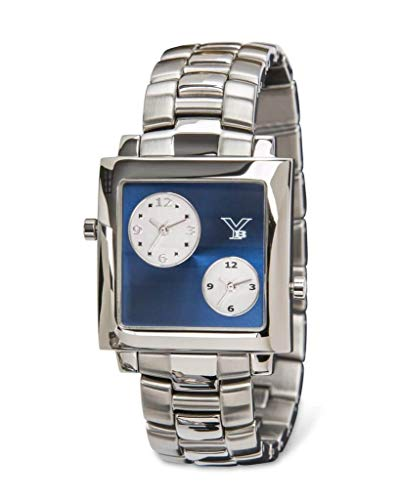 Face Chronometer Quartz Movement - Youngblood Women's Hong Kong IV Wrist Watch - Dual Time Japanese Movement Timepeace with Mineral Glass Square Face Dial and Stainless Steel Bracelet - Blue Dial and Silver Band