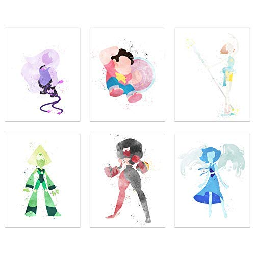 (Crystal Watercolor Steven Universe Poster Prints - Set of 6 (8x10) Minimalist Gems Fanart Wall Art Decor - Pearl - Garnet - Amethyst - Lapis Lazuli -)