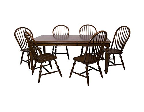Sunset Trading DLU-ADW4276-C30-CT7PC Andrews Dining Table Set Distressed Chestnut ()
