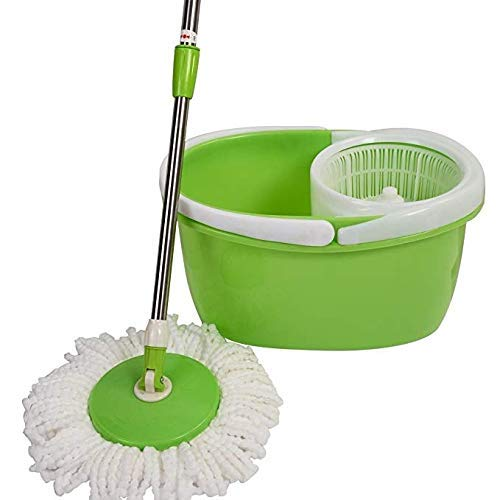 Goplus Magic Spin Mop Microfiber Spining W/Bucket 2 Heads 360° Rotating Easy Floor Mop (Green)
