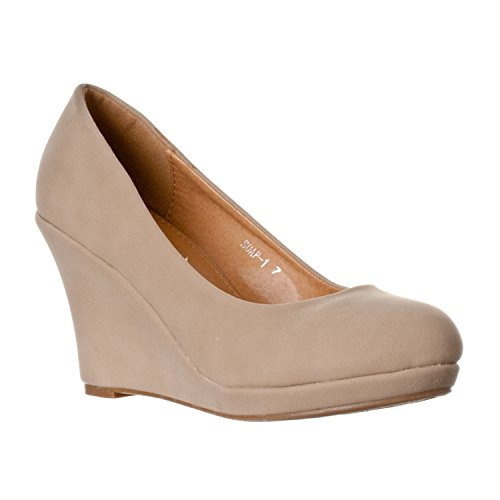 Mode-chaussures Femmes Mi-talon Wedge Amande Orteil Pompe Coins Taupe