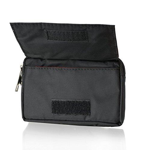 """Doppel-Reissverschluss Portemonnaie Handytasche schwarz geeignet für """"LG G5 SE """" Handy Schutz 2 in 1 Softcase inkl. Gürtelschlaufe / Handgelenkschlaufe - Hülle Case Etui Wallet Tasche"""