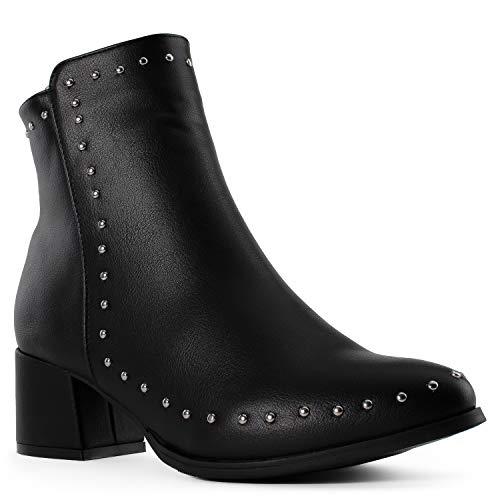 (Women's Studded Almond Toe Block Heeled Ankle Booties Black (10))
