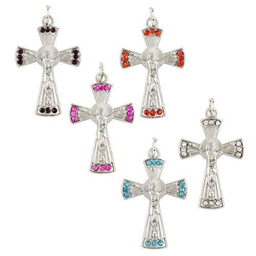 (Assorted Color Glass Gemstone Crucifix Pendants, 1 3/8 Inch, Set of 5)