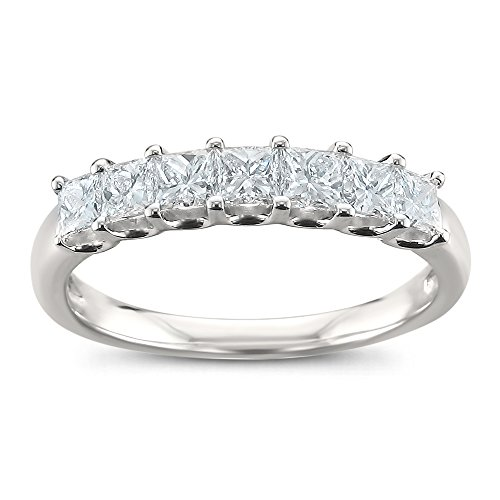 Platinum 7-Stone Princess-cut Diamond Bridal Wedding Band Ring (1 cttw, H-I, SI1-SI2), Size (Platinum Diamond Wedding Anniversary Ring)