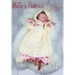 Crochet Pattern for Baby, Hooded Sleeping Bag, 0 to 3 Months CP41