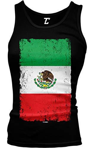 Distressed Mexico Flag - Mexican Eagle Latino Juniors Tank Top (Black, Medium)