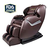 Real Relax Zero Gravity Full Body FDA Approved Affordable Shiatsu Electric Massage Chair with Heat and Foot Roller, Brown