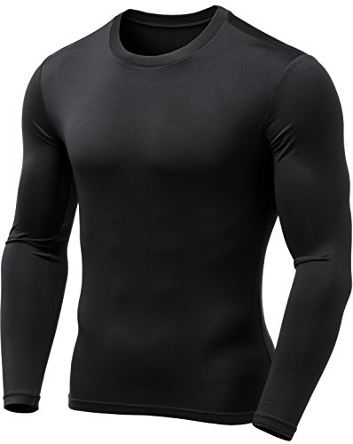 Tesla TM-YUD21-BLK_Medium Men's Thermal Wintergear Compression Baselayer Long Sleeve Top YUD21