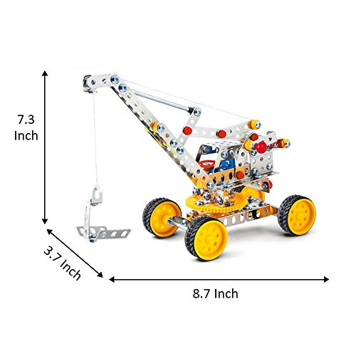 IRON COMMANDER Erector Sets Construction Vehicles Metal Crane Toy,235 Parts Metal Building Set, STEM Educational Toys for Ages 8 and Up