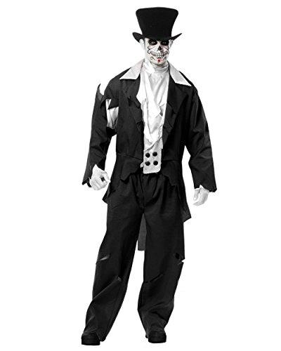 Ghost Groom Adult Mens Costumes (Adult Men's Black Zombie Prom Ghost Wedding Groom Costume (Medium 40-42))