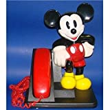 Disney Mickey Mouse Phone ATandT 1992 Red Black Telephone, Office Central