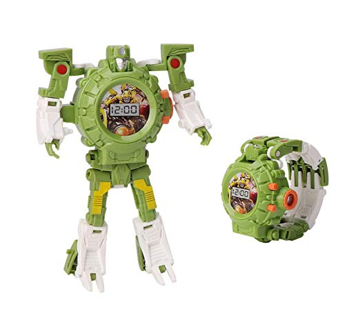 AG Goodies Robot Toys Watch, 2 in 1 Robot Watch Toy Watch, Suitable for Boys and Girls, Robot Deformed Digital Watch, School Toy Gifts.(Green)