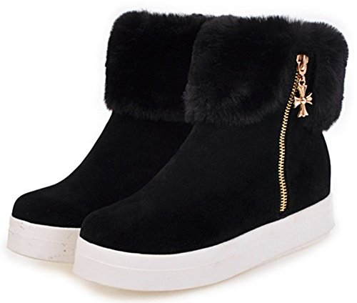 Short Inside Suede Heighten Snow Warm Zipper Women's Toe Faux Platform Round Black Ankle Mofri Boots Booties Fur Side Faux XHF0xXpq