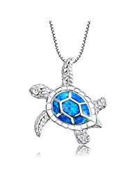 925 Sterling Silver Turtle Jewelry Lucky Longevity Blue Fire Opal Pendant Necklace Mothers Day Gifts