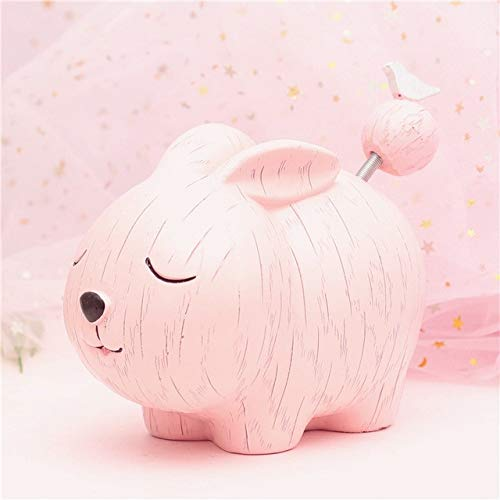 ZAMTAC Cartoon Calf Dog Sheep Pig Tiger Rabbit Zodiac Saving Money Children Gift Decoration Creative Animal Piggy Bank Lucky cat CL0104 - (Color: Big Rabbit Pink)