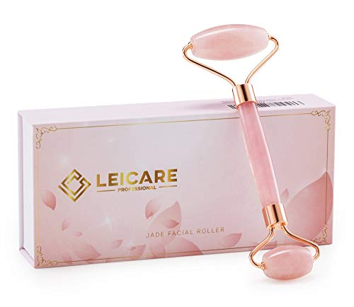 Jade Roller for Face – Rose Quartz Face Roller Skin Care – Stone Facial Roller, Face Massager for Women, Relieve Stress…