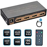 NexTrend HDMI Switch 4K, 3 Ports HDMI Switcher Hub Splitter 4K@60Hz/2K/1080P/3D with IR Remote Control for PC Laptop, Xbox 360/One, PS4/PS3, Nintendo Switch, Blu-ray player, Apple TV, Roku/Fire Stick
