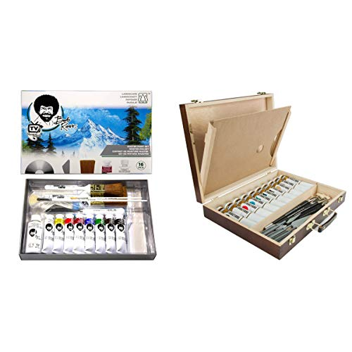 Bob Ross Master Artist Oil Paint Set Includes Wood Art Supply Carrying Storage Case Sketchbox w/Palette