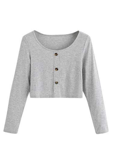 SweatyRocks Women's Scoop Neck T-Shirt Long Sleeve Button Front Slim Fit Crop Tops Grey L