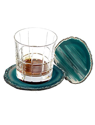 AMOYSTONE Teal Agate Coaster 3.5-4'' Dyed Sliced Genuine Brazilian Teal Agate Drink Coasters with Rubber Bumper Set of 4 by AMOYSTONE (Image #3)