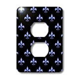 3dRose lsp_22347_6 Blue Fleur De Lis on A Black Background Christian Symbol 2 Plug Outlet Cover