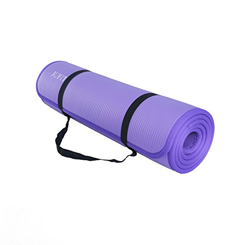 JUFIT Yoga Mat 1/2-Inch Extra Thick 72-Inch Long High Density Anti-Tear Anti-Slip NBR Comfort Foam Yoga Mat with Carrying Strap and Package for Exercise Yoga and Pilates