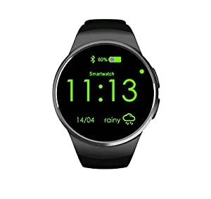Round smart watch Bluetooth kw18 smart wear Bluetooth plug in cartoon wish Amazon fast selling pass (black)