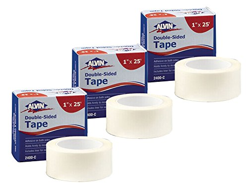 Set of 3 Alvin Double-Sided Tape 1 x 25 Feet (2400-C) bundled by Maven Gifts by Alvin