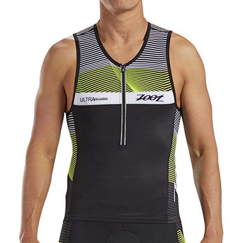 Ultra Singlet - Zoot Men's Ultra Tri Tank - Performance Triathlon Top with Carbon Fabric and 3 Pockets (Small)