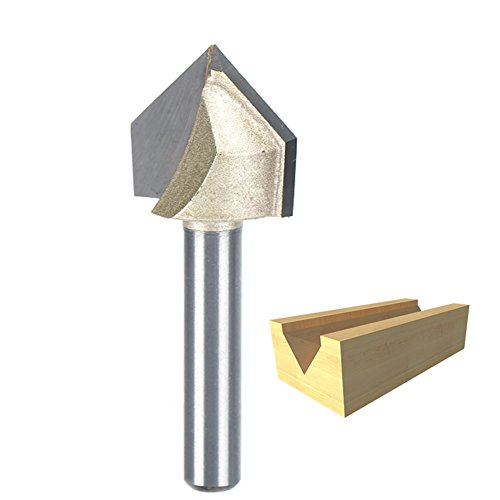 HUHAO CNC Router Bits 1/4 Inch Shank V Groove Coated Carbide Cutting Tool For Wood 90 Degree 3/4 Cut Diamete (Cut Groove Wood)