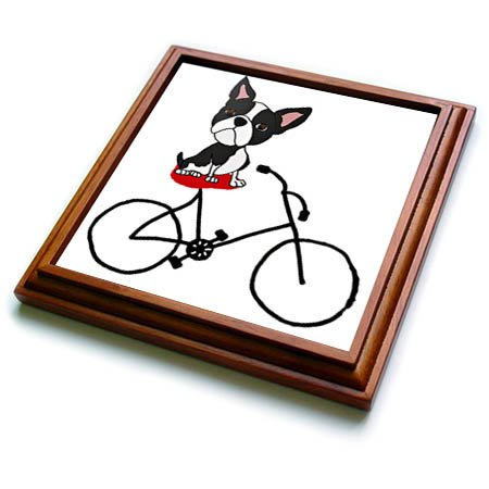 3dRose trv_260970_1 Funny Cute Boston Terrier Puppy Dog Riding Bicycle Trivet with Tile, 8 by 8