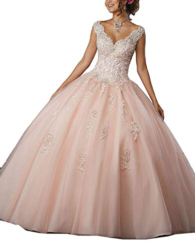 Gemila Women's Lace Applique Sweet 16 V-Neck Tulle Floor Length Straps Ball Gown Quinceanera Dress Light Pink US2