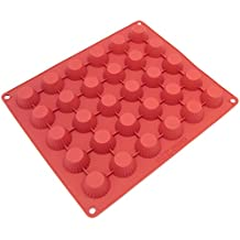 Freshware CB-101RD 30-Cavity Silicone Mold for Making Homemade Chocolate Peanut Butter Cup, Candy, Gummy, Jelly, and More