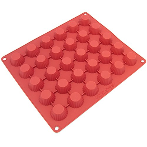 Freshware CB-101RD 30-Cavity Silicone Mold for Making Homemade Chocolate Peanut Butter Cup, (Fruit Jelly Flexible Mold)