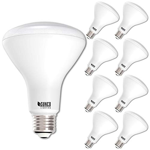 - Sunco Lighting 8 Pack BR30 LED Bulb 11W=65W, 4000K Cool White, 850 LM, E26 Base, Dimmable, Indoor Flood Light for Cans - UL & Energy Star