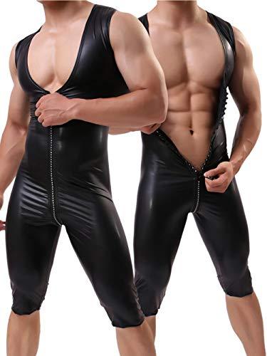 Simili De Combinaison Pièce Sport D'une Xsqr Hommes Seule Scène Pantalon Cool Cuir Glissière Super Stretch Fermeture Gilet À Sexy XwZEZHqR