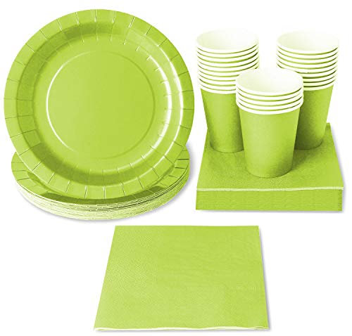 Green Party Supplies (Serves 24 Guests) Disposable Dinnerware Set Includes Paper Plates, Cups and Napkins -