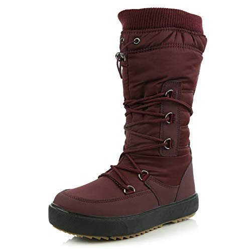 DailyShoes Women's Comfort Round Toe Mid Calf Fringe Lace Up Eskimo Winter Snow Boots, Wine, 9 B(M) US ()