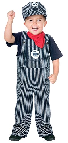 Fun World Costumes Baby's Train Engineer Toddler Costume, Blue/White, Large(3T-4T) (Toddler Costumes)