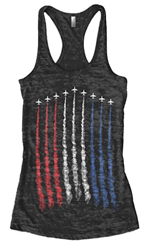 Threadrock Women's Red White Blue Air Force Flyover Burnout Racerback Tank Top XL Black