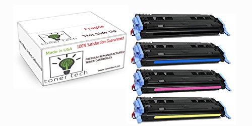 Toner Tech- High Yield Remanufactured OEM Toner Cartridge Replacement Set (Q6000A,Q6001A,Q6002A,Q6003A) for HP 124A/ HP 1600/ HP 2600/ HP 2605 Set (Complete Set) (Remanufactured Set Ink)