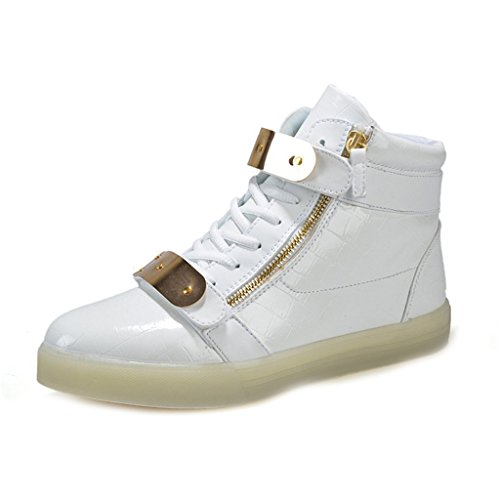 (Present:small towel)JUNGLEST LI & HI 7 Color LED Light USB Charging adult pairs of shoes autumn and winter sports shoes casual shoes luminous current U White nf9O9E