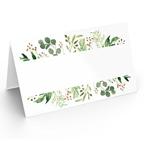 25 Table Place Cards | Elegant Greenery | Perfect for Weddings, Holidays, Dinner Parties, Birthdays, Buffets and Catering