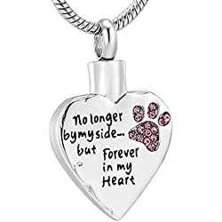 Fashion Pet Cremation Jewelry Stainess Steel Heart Keepsake Ashes Necklace Dog Cat Paw Memorial Urn Pendant (Pink)