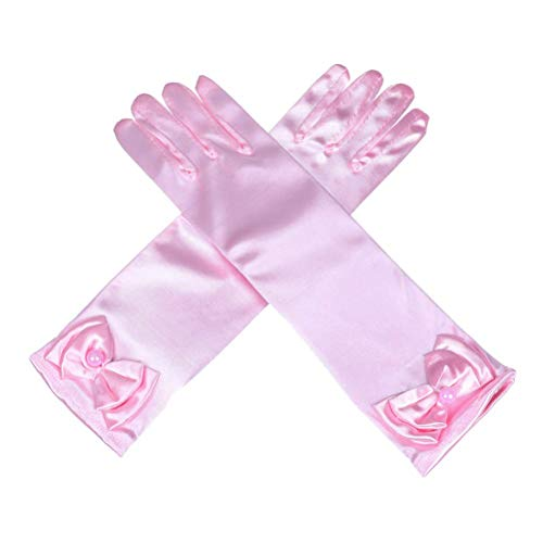Ages 3 to 8 Years Old Princess Gloves Bowknot Gloves Girls Satin Gloves Satin Flower For Wedding Costume Party Halloween ()