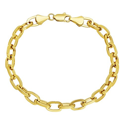 (The Bling Factory 6mm 14k Yellow Gold Plated Flat Edged Oval Cable Link Chain Bracelet, 8