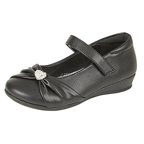 US Brass Mädchen Paige II Diamanten Trim Schuhe Schwarz Matt