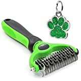 The Bestseller Pet Grooming Comb – Dematting, Deshedding Detangler Tool for Dogs & Cats Dual Head 17 + 9 Teeth Green